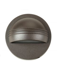 MDL Integrated LED 1.2 Watt Surface Mount Half Moon Deck/Step Light with Frosted Glass in Cast Aluminum (Finished in Bronze)