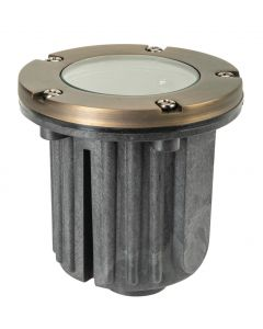 MDL Well Light with Clear Glass Top and Adjustable Gimbal in Cast Brass (Antique Bronze Finish)